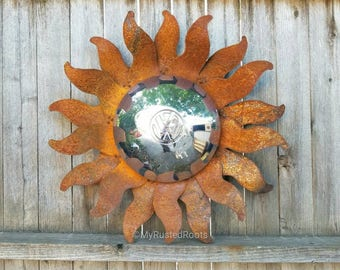 Free shipping - VW hubcap sun sunburst rusted metal wall hanger yard art