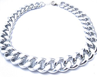 Oversize Silver Chunky Curb Chain Statement Necklace, Chunky Necklace, Chain Links, Bold Statement Necklace