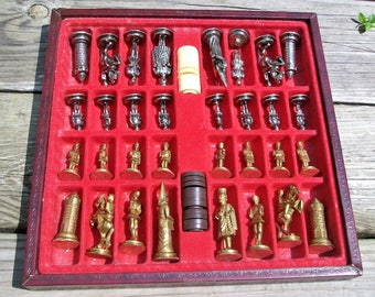 Vintage Metal Chess Checker Set Chess Checkers Board Made In Italy