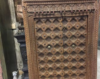 Antique Indian Floral Carved Window Frame Double Door Panels Wooden Jharokha Haveli Design Decor FREE SHIP
