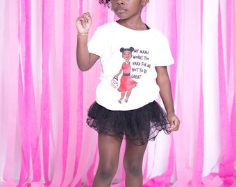 Custom Girls TShirt Graphic Birthday Tees T-Shirt Tee Mother's Day - Afro Puffs Afrocentric - Natural Black Kinky Coily Curly Hair