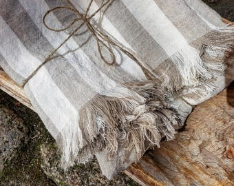 Striped linen blanket, stonewashed linen blanket, linen throw, beach blanket, raw linen throw, fringed blanket, grey striped throw, softened