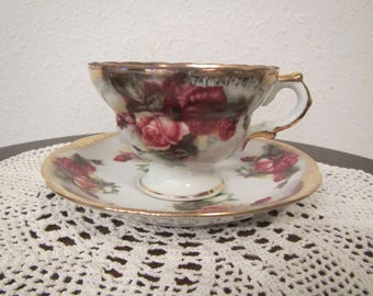 Old Gold Tea Cup and Saucer , Hand Painted Japan, Rose Pattern ( C-9 )