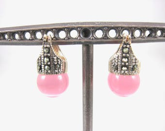 Marcasite And 925 Sterling Silver Pink Cubic Zirconia Ball Post Earrings