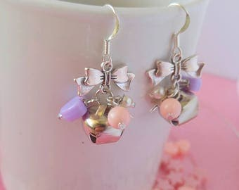 Handmade Silver Bell Earrings - Fairy Kei Jewelry - Pastel Kawaii Lolita Gifts for Her, Kitten Gifts, Glass Pearls and Bows