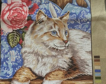 Cat with roses needlepoint canvas pattern, cat needlepoint, needlepoint canvas, needlepoint cat pattern, needlepoint, canvas, cat canvas,