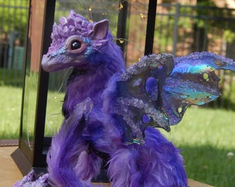 Posable Amethyst Crystal Dragon Hand Made Art Doll