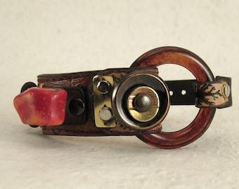 420 Steampunk Burning Man Boho Bracelet Recycled Jewelry