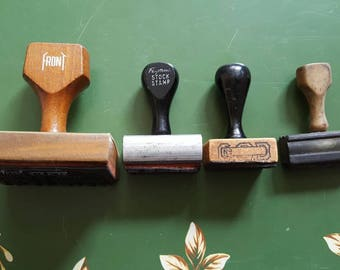 MidCentury Office Ink Stamps Paid COD Industrial Billing Invoicing Chicago History Wooden Handle Stamps Jonathan Letterpress DIY Stock
