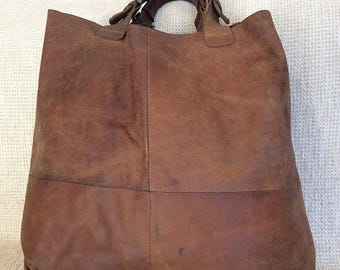 15% SUMMER SALE Vintage genuine oiled brown leather shopping tote work bag distressed bohemian