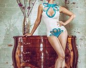 Sample Sale LATEX- White and turquoise body with cut out panels leotard UK size 8-10
