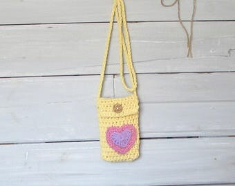 Small Girls Teens Heart Purse Yellow Hand Crocheted Small Pouch Purse