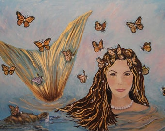 """More Precious Than Gold, Mermaid Art Print Matted to 8""""x10"""" by Linda Queally"""