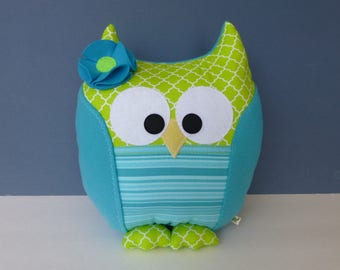 Owl Pillow - Turquoise & Lime Green