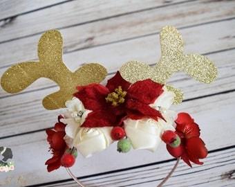 Handcrafted Woodland Reindeer Christmas Headband - Deer Antler Headband - Gold Glitter Antler Headband - Adult Reindeer Headband - Red Ivory