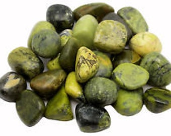 Bulk 1lb Tumbled Green Serpentine Gemstones, Bulk Wholesale Serpentine Tumbled Stones, Serpentine Tumbled Gemstones, 1 Pound Gems Wholesale