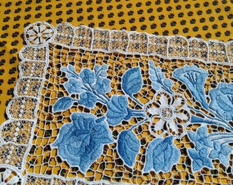 Venetian Art Lace Blue Hand Embroidered Antique 1930's French Lace Doily Table Center Floral Doily Cotton #sophieladydeparis