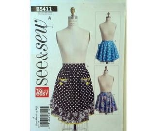 UNCUT Butterick See and Sew #5411 Ruffle Frill Edge Apron Pinny Sewing Pattern 4 Sizes Small, Medium, Large, Extra Large