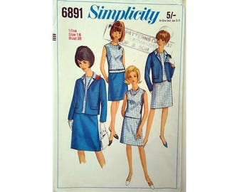 """Vintage 60's Simplicity #3675 Jacket, Slim Pencil Skirt Suit and Two Different Tops Sewing Pattern Size Bust 36"""" UK 14"""