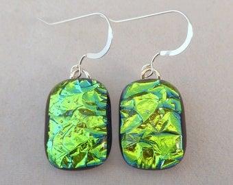 Green Dichroic Fused Glass Dangle Earrings, Fused Glass, Fused Glass Earrings, Glass Earrings, Dichroic Earrings, Dangle Earrings, Emerald