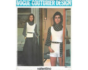 Vogue couturier design Valentino 2551 Bust 31.5 inches, factory folded, blouse tunic pants shorts skirt sewing pattern