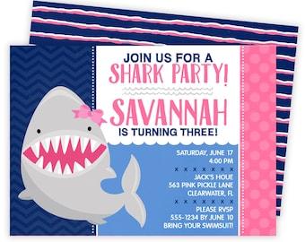 Shark Invitation, Shark Party, Shark Birthday Invitation, Shark Birthday, Shark Birthday Party, Shark Party Invite, Shark Invite, Girl | 563