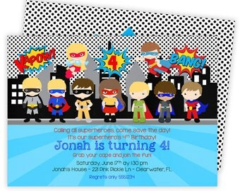 Superhero Invitation, Super Hero Invitation, Superhero Birthday Invitation, Superhero Party, Printable Invitation, Superhero Birthday | 221