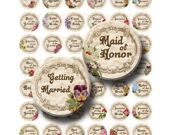 SALE- Getting Married - Digital Collage Sheet  - 1 inch Round Circles - INSTANT DOWNLOAD