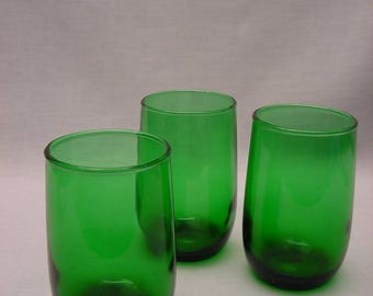 Set (3) Vintage Anchor Hocking Roly Poly Juice Glasses Tumblers Forest Green