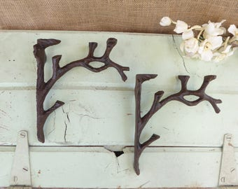 set of 2 tree branch brackets cast iron metal shelf brackets rustic nature cabin