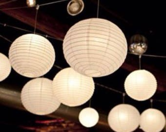 9x White Paper Lanterns with LED Bulbs for Wedding Engagement Anniversary Birthday Party Hanging Lighting Decoration