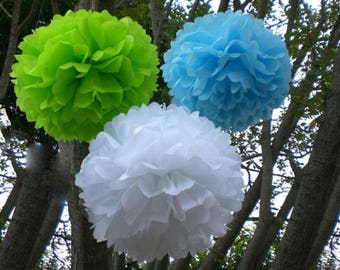 18x Mixed Size Green Blue White Tissue Paper Pom Pom • 21st Birthday Boy's First Birthday Party • it's A Boy Baby Shower Decoration