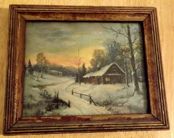 Antique Photo in Frame Farmhouse Collection Winter Cabin Country Living Ships Freein USA Next Day Shipping