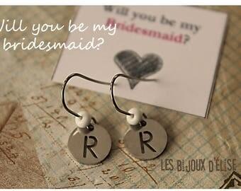 Initial Earrings Charms Earrings Letter Dangle Earrings Small Earrings Bridesmaid Earrings Party Favor (BO16) Stainless Steel
