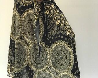SK0224 Skirt With Coconut Buckle,Elastic Waist,Long Skirts For Women,Hippie Skirt Bohemian SkirtBoho Skirt