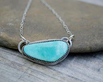 Sterling Turquoise Bar Simple Necklace  . Sterling  Necklace. USA Mined Campitos Turquoise. Handmade . Rustic . Earthy . Boho .