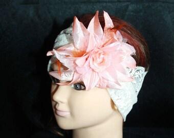 wide ivory elastic lace headband