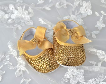 Swarovski Crystal Gold Topaz baby pram bootie crib pre walker shoes with elastic strap and crystal bow - ideal xmas present!