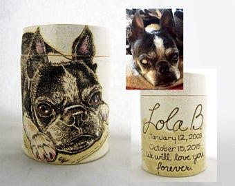 Dog Urn, Handmade Pet Memorial Pottery Urn, pet, pet cremation urn, memorial, cat urn, pet urn, keepsake jar, add their name, dates