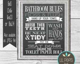 Bathroom rules art etsy for Bathroom decor rules