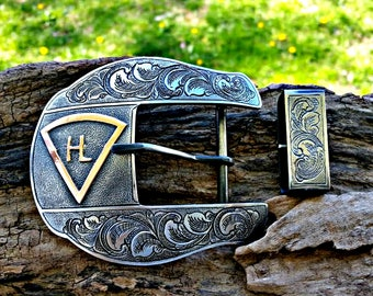 Ranger Belt Buckle, Mens Custom Buckle, Plain Jane, Western Belt Buckle, Personalized, 2 Piece Ranger Set, Engraved Gift, Rodeo, Cowboy Gift