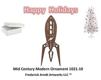 1021-10 Mid Century Modern Christmas Ornament