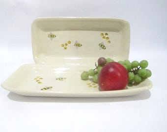 Serving Plate Cake Flat Dish Bee Kitchenware Hand