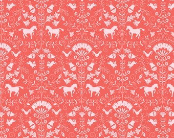 NEW! Pre-Order Sale, Thistle Coral, Fabric Yard, Hill & Dale Collection 2017, by Ana Davis For Blend Fabrics, 113.113.02.1