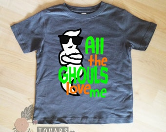 All the ghouls love me - Charcoal Gray shirt - halloween shirt - boys shirt - baby boy clothing - boys t shirt - halloween shirt for boys