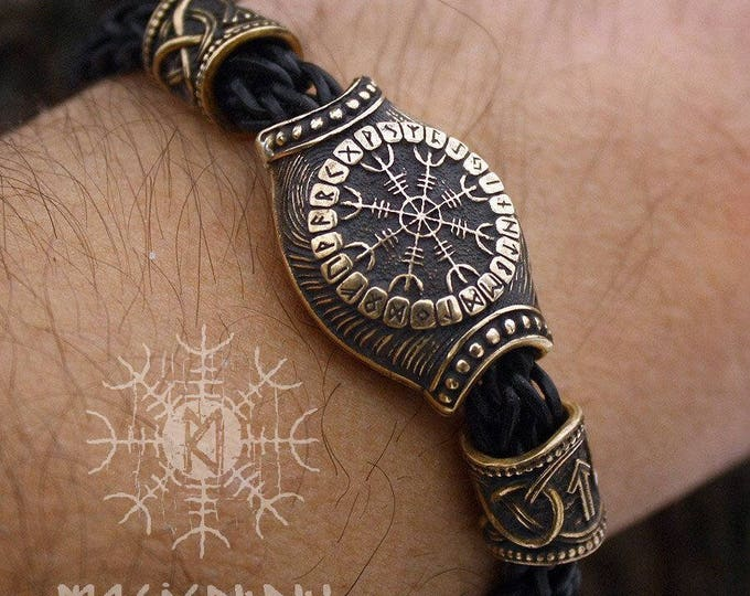 Bronze Vegvisir Aegishjalmur Futhark Runes Beads Wolf Heads Handmade Braided Genuine Leather Bracelet WHB9blk
