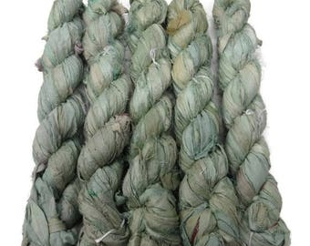 SALE 50g Recycled Sari Silk Ribbon, Mint