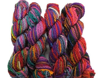 SALE New! Sari Silk Hemmed Cording, 100g , Multi colored mix