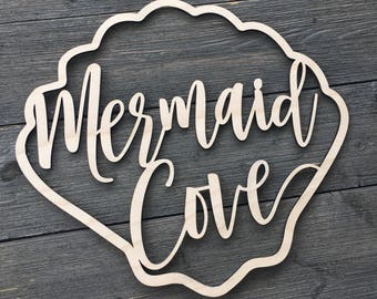 "Mermaid Cove Wall Sign Cutout, 14""x12.75"" inch size, Shell Wooden Sign, Nautical Beach Nursery Bedroom Kids Room Room Laser Cut Wood Sign"