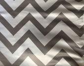 2 and Half Yards, SATIN white grey chevron fabric, gray zigzag Fabric